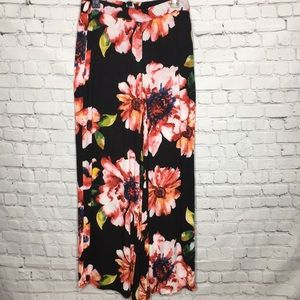 ECI NEW YORK tropical floral flared wide leg pants